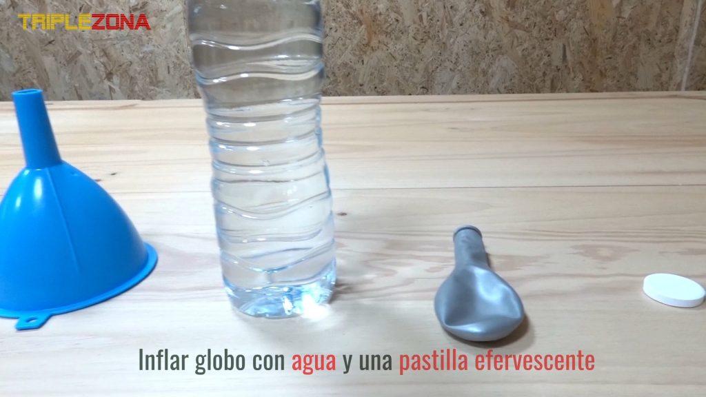 Material para inflar globo con pastilla efervescente