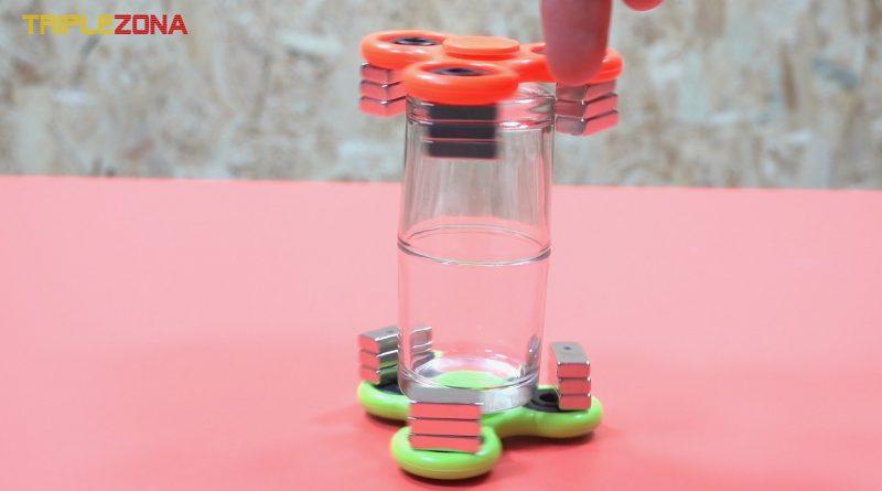 Doble spinner magnetico girando juntos a distancia