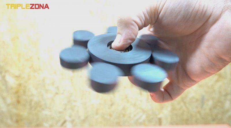 Spinner magnético girando con imanes de ferritina