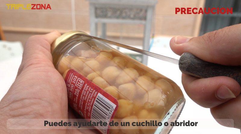 Abrir tarro de cristal con cuchillo