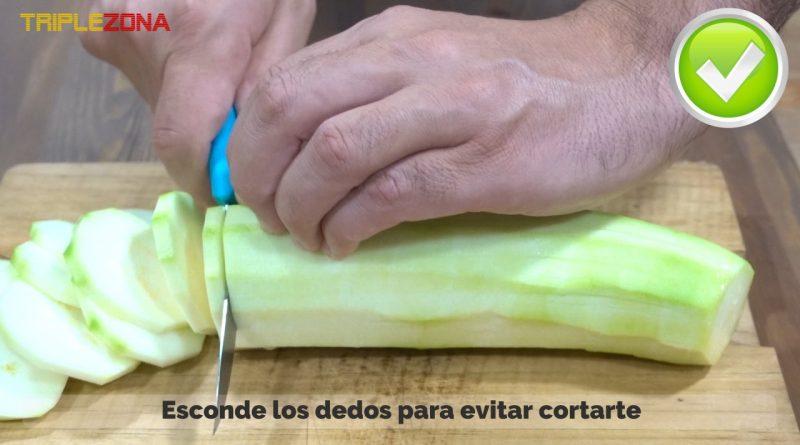 Forma correcta de cortar verdura o carne