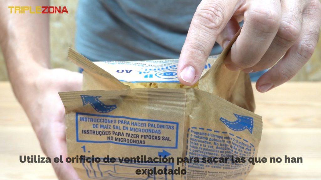 agujero de ventilación de bolsa de palomitas de maiz