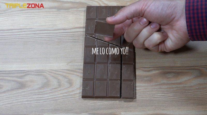 Ilusión óptica o trucos en la que conseguimos que sobre una onza de chocolate